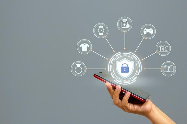インターネットショッピングやオンラインビジネスのセキュリティのアイデアに最適な保護アイコン。