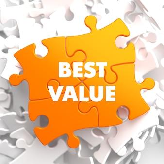 Лучшее соотношение цены и качества на оранжевой головоломке на белом.