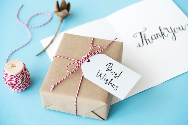 Best wishes tag on a gift box