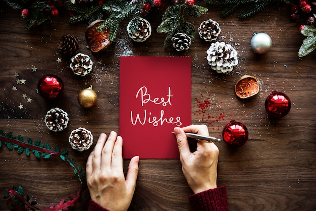 Рождественская тематическая карта best wishes