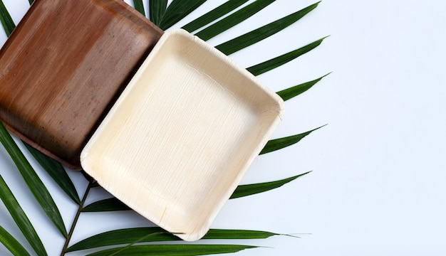 Betel palm leaf plates isolated