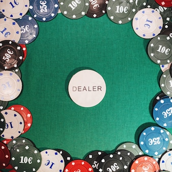 Betting chips and poker games and gambling