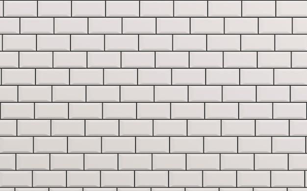 Beveled white matt ceramic tiles pattern herringbone on wall