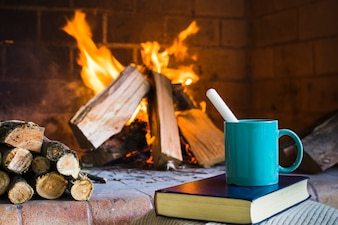 Beverage and book near fireplace