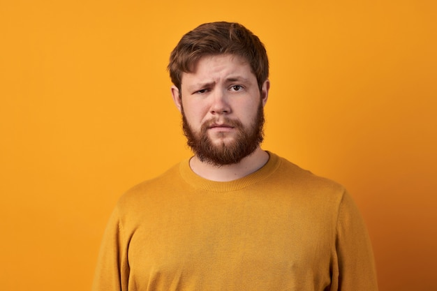 Bewildered man with thick ginger beard, raises eyebrows, reacts on fake news from friend, looks directly at camera