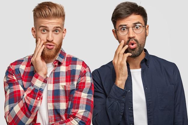 Sconcertati due compagni maschi guardano con espressioni perplesse, fissano qualcosa di fantastico, tengono le mani vicino alle bocche, vestiti con camicie alla moda, hanno barbe folte, isolato su muro bianco
