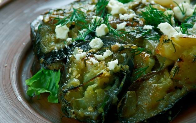 "Beyaz peynir soslu patlã""â±can.흰 치즈를 곁들인 가지 찜.터키 요리"