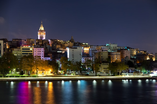 Beyoglu historic district and illuminated galata tower medieval landmark in istanbul at night, turkey.