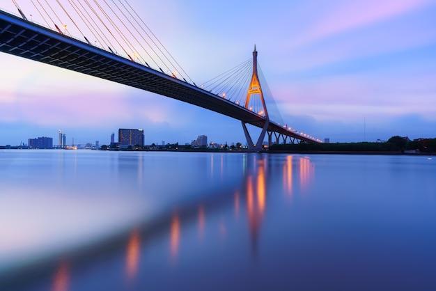 Bhumibol  bridge 1 crossing the chao phraya river with reflection