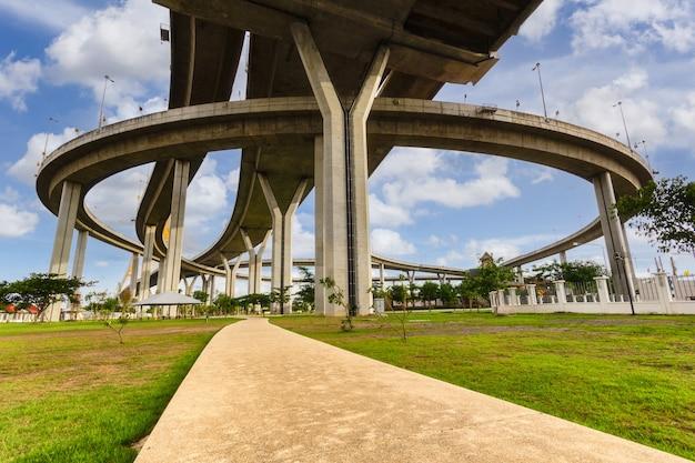 Bhumibol bridge crosses the chao phraya river twice