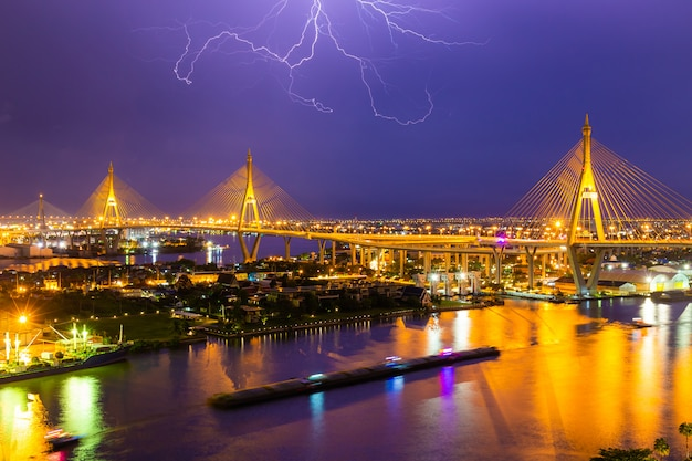 Bhumibol bridge is one of the most beautiful bridges in thailand and area view for bangkok with thunderclap.