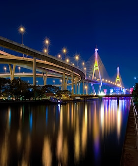 Bhumibol bridge with water reflection  of thailand