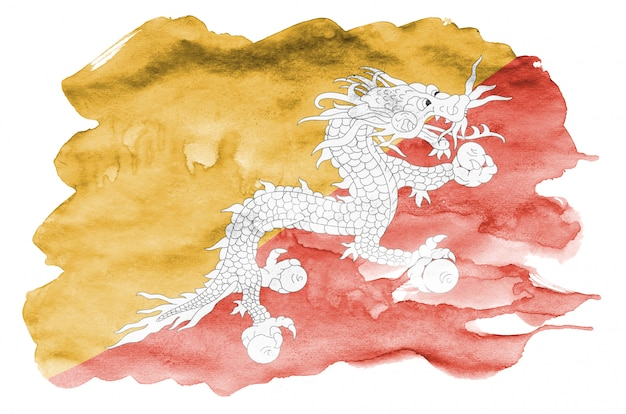 Bhutan flag  is depicted in liquid watercolor style isolated on white
