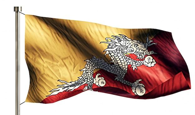 Bandiera nazionale del bhutan isolato 3d sfondo bianco