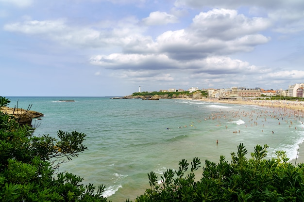 Biarritz france beach on a sunny summer day. france.