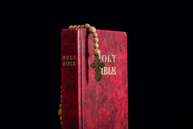 Bible and cross in religious