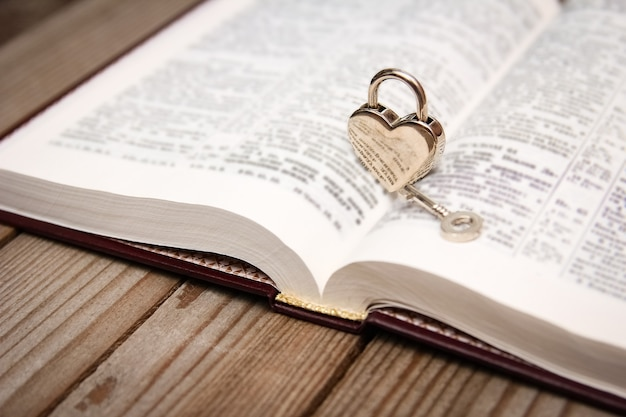 Bible and happy valentine's day in love