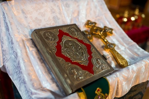 A bible lying on the pulpit in a church.