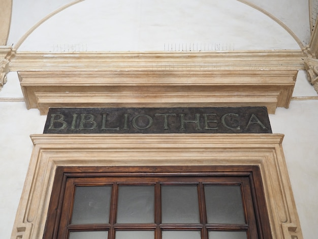 Bibliotheca (library) sign