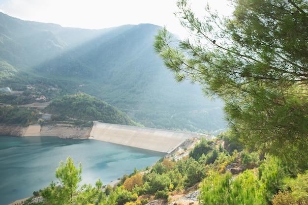 山の中の鮮やかな芳香の針葉樹とアクアマリン色の水