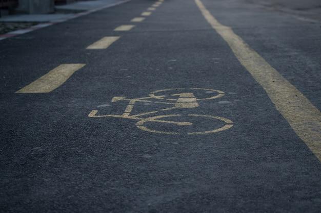 Bicicle lane in the closeup