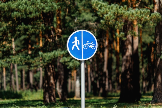 自転車と歩行者レーンの青い道路標識のポール