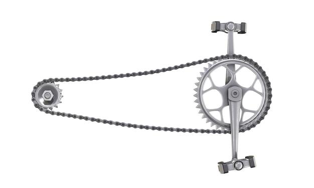 Велосипедная цепь с педалями спереди, изолированные на белом. 3d рендеринг.