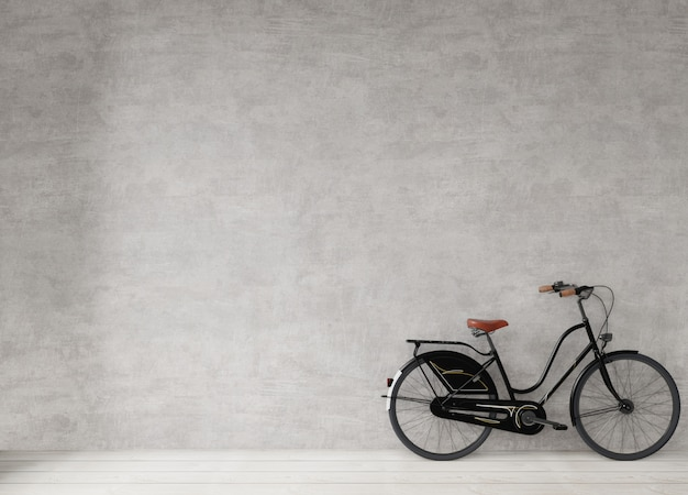 Bicycle at the concrete wall, minimal style background ,  3d rendering