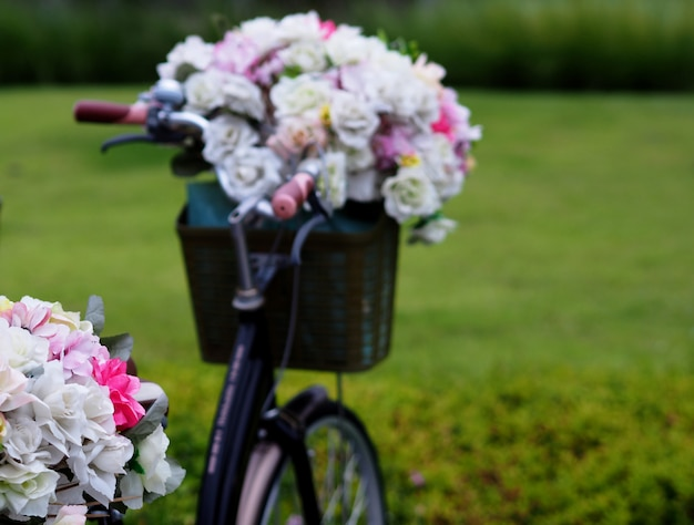 Bicycle, flower, lawn in the garden