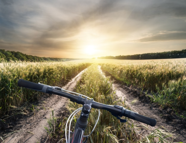 Bicycle handlebar on country road to bright sun