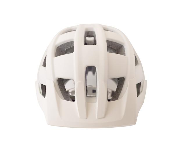 흰색 배경에 고립 된 자전거 헬멧