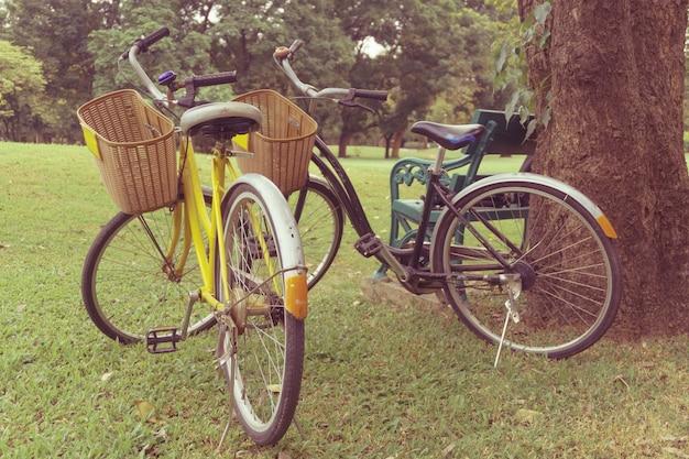 공원에서 자전거. 빈티지 복고 효과 스타일 사진.