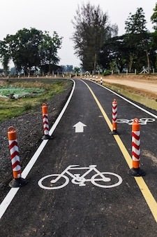 Bicycle lane for cycling is divided into 2 lanes