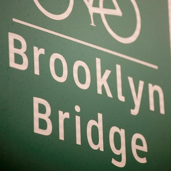 Bicycle lane direction sign to the brooklyn bridge in manhattan, new york city, u.s.a.