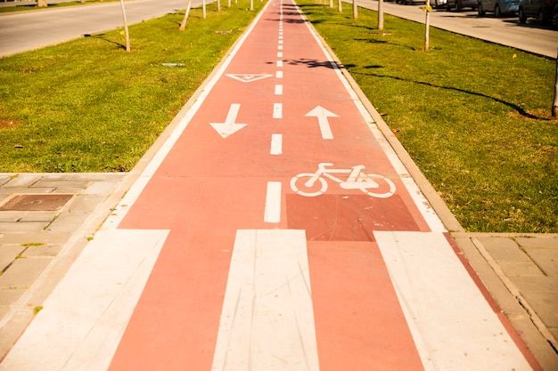 Bicycle lane with sign between the green grass