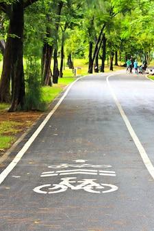 공원에서 자전거 차선