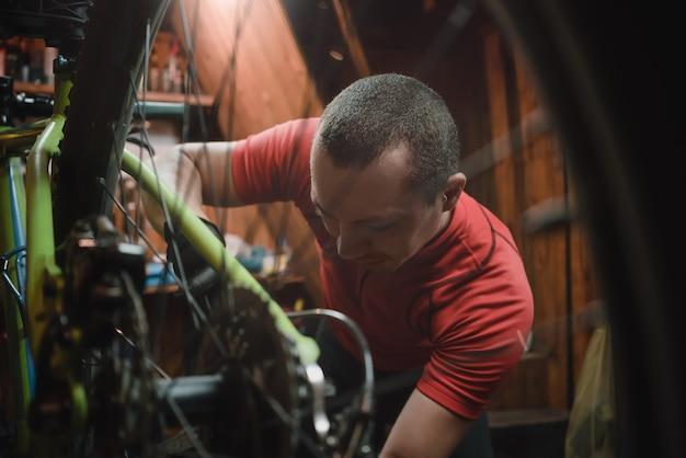 Bicycle mechanic service repairing bikes