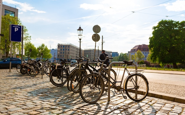 Bicycle parking in ancient european city. summer tourism and travels, famous europe landmark, popular places