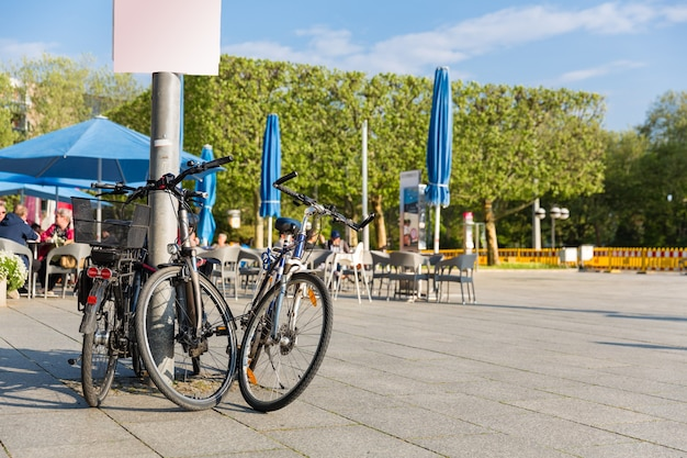 Bicycle parking in ancient european city