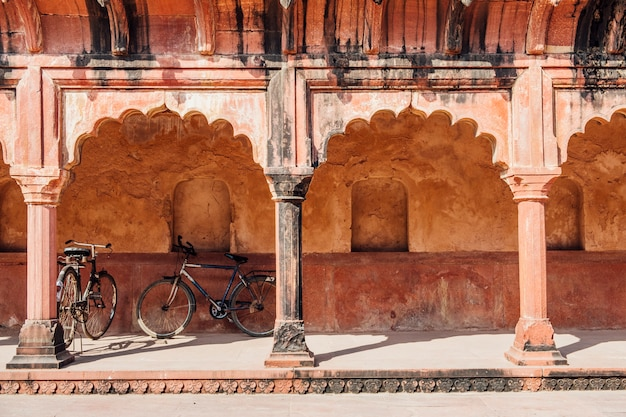 Bicycle parking at indian building in islamic style