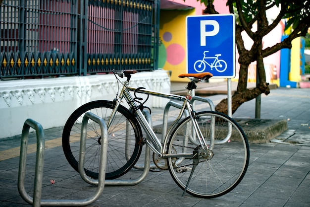 Bicycle parking on parklot