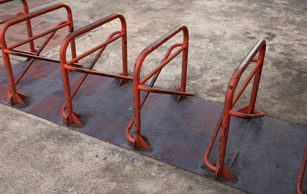 Bicycle parking rack in public park