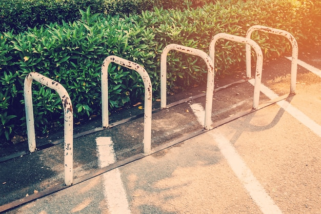 Bicycle parking and soft light with vintage effect.