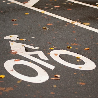 Bicycle path logo in central park in manhattan, new york city, u.s.a.