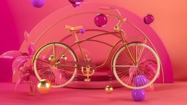 Bicycle in pink interior 3d illustration render