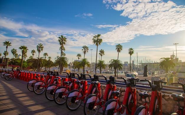 バルセロナの遊歩道での自転車レンタル。セレクティブフォーカス。