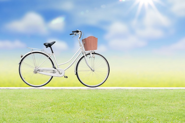 Bicycle on road and blue sky