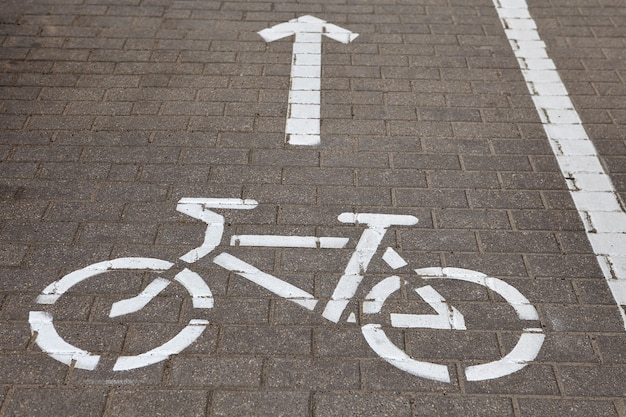 Bicycle road sign on cycling path painted on sidewalk.