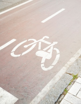 Bicycle road sign on road