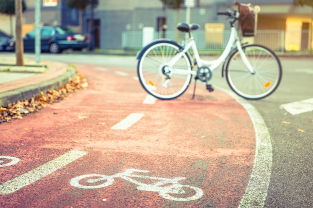 Bicycle road symbol over a street bike lane in autumn with white bicycle